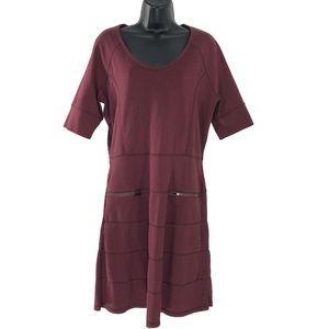 Athleta Strata Zipper Dress Burgundy Maroon Large